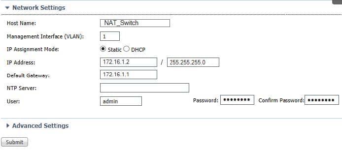 Stratix 5700 NAT Switch Settings